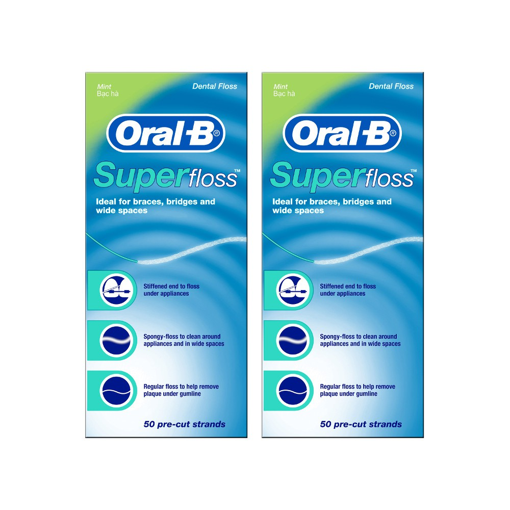 Oral B Super Floss 50 CT Strands Mint 30 M p&g ( แพ็คคู่ )