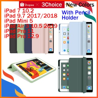Review Case for iPad 7 10.2 Mini 5 9.7 2017/2018 Air 3 Pro 10.5 12.9 11 Trifold Smart Case Cover Auto Sleep/Wake With Pen Slot