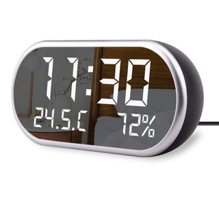 Review Digital Alarm Clock Portable Mirror Hd Led Display With Time/Humidity/Temperatur