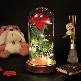 Image # 5 of Review Eternal Flower Red Silk Rose and LED Light with Fallen Petals in Glass Dome on a