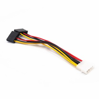 4-Pin IDE Molex Male to Dual SATA 15-Pin Y Splitter Female HDD Power Adapter Cable สาย