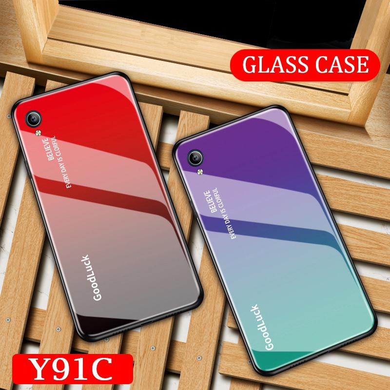 Review Vivo Y91C Transparent HD Tempered Gradient Glass Case Cover