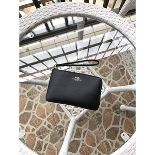 Review New Coach กระเป๋า คล้องมือ 1 ซิป S รุ่น CORNER ZIP WRISTLET IN CROSSGRAIN LEATHER COACH F58032 IMITATION-GOLD/BLACK