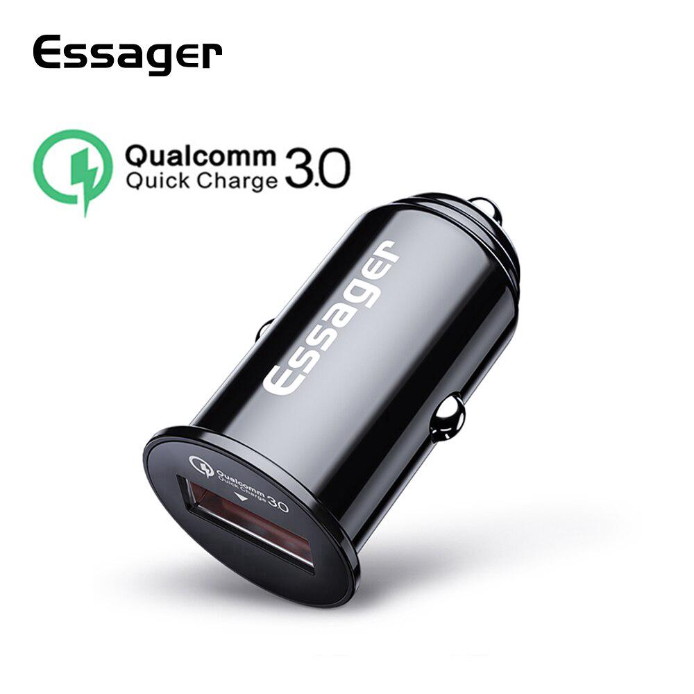 Essager USB ที่ชาร์จโทรศัพท์มือถือ QC3.0 สำหรับ Car Charger For iPhone 11 pro  Samung Android Phone Car Ch