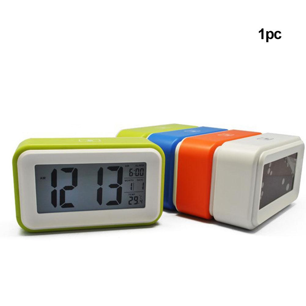 Review Alarm Clock Digital LCD Display Bedroom Desktop Electronic Home Office Use Temperature Snooze Function Power Saving