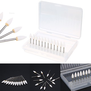 💗Dharma💗12pcs New Dental White Polishing Burs Stones Flame Shape FL2 FG Arkansas Stone