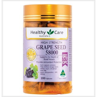 Review Healthy care grape seed 58000 mg 200capsules
