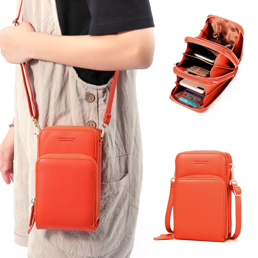 Review Women Solid Faux leather  Clutches Bag Card Bag Phone Bag Crossbody Bag