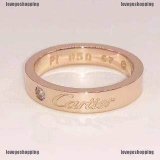 Review ส่งฟรีเมื่อซื้อครบ 99บาทReadystock♥Ring cartier 18K Rose Gold Classic Ring Plated Couple Ring for wedding