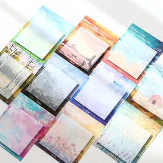 30 Sheets Painting landscape memo pad planner sticky notes paper sticker notepad