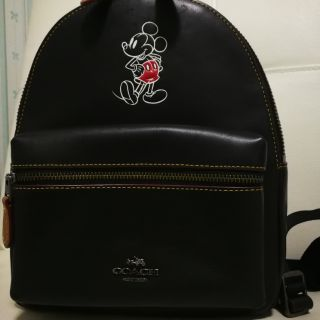 Coach​ มือสอง​  ของแท้​  F59837 Disney Mini Charlie Backpack Glove Calf Leather Mickey