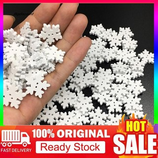 Review SDJ100Pcs 1.7cm Snowflake Christmas Tree Hanging Ornament DIY Wood Craft Xmas Decor