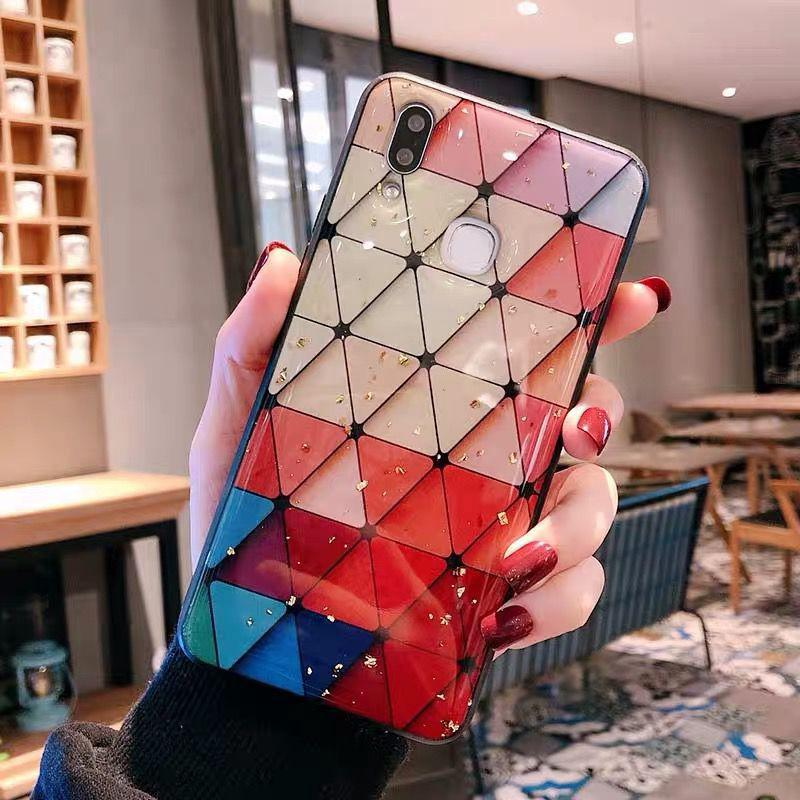 Review Vivo Y95 Y97 Y93 Y91 Y91i Y91C Y93S V9 Y85 Y67 Y66 Case Renaissance Gold Foil Diamond Lattice Cover