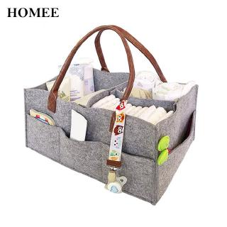 homee Baby Diaper Caddy Felt Basket For Car,Travel Bag With Changeable Compartments Storage Nursery Gray Lovely