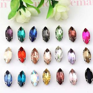Hand-Sewn Rhinestone with Hole, 50 Horse-Eye Glass Claw Crystal Rhinestones, White Gold Base Multicolored Fashionable Crystal Buckle Fasteners, DIY Dress Wedding Handmade Material Accessories (50 pcs/pack)