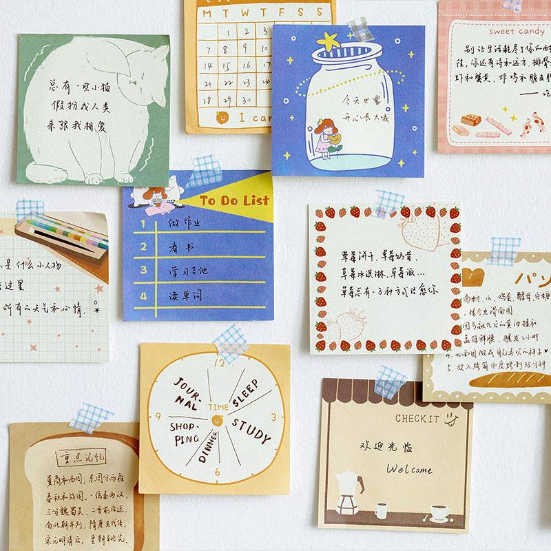 Mohamm Lovely Series Kawaii Cute Stick Notes Memo Pad Diary Stationary Flakes Scrapbook Decorative Sticky