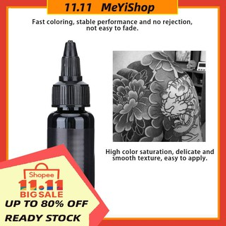 Review ✨Meyis✨ SALE Professional Black Body Tattoo Ink Long Lasting Fast Coloring Pigment 29.6ml