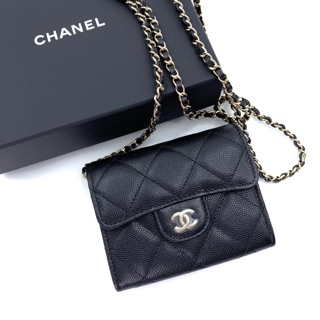 Review New Chanel 2 compartments Wallet with Chain Caviar in Black รูดผ่อน0%เท่านั้น