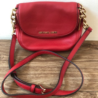 Review Michael Kors Michael Kors Bedford Leather Flap Crossbody Bag- Red, Used