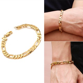 Review New Fashion Women Men Curb Chain Link Gold Plated กำไล ส่วนลด100 บาท โค้ด