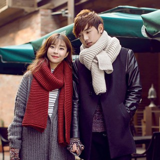 Review LK❈Unisex Winter Fashion Solid Color Scarves Wraps Knitted Large Long Couple Scarf