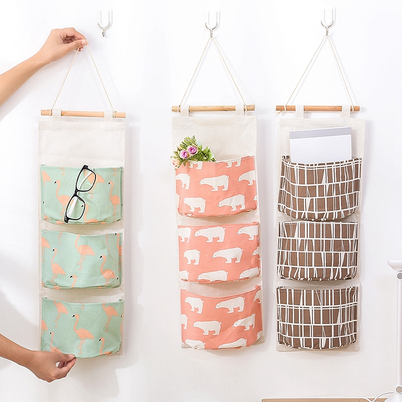 Image # 2of กระเป๋าผ้าฝ้ายและผ้าลินินที่แขวนผนังถุงผ้าหลายชั้น