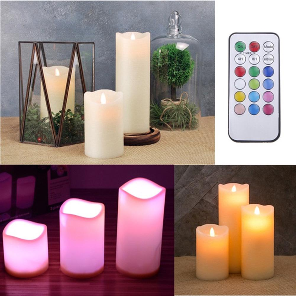 Review 3pcs LED Ivory Candle light with remote changing color creative lamp for home bedroom Drop Shipping
