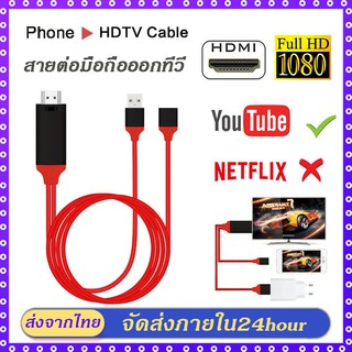 3IN1 MIRASCREEN รุ่นสากล สาย HDMI 1080P 60Hz ADAPTER CABLE iPhone / Android / TYPE-C กับ HDTV AV สาย USB แท้ 100%