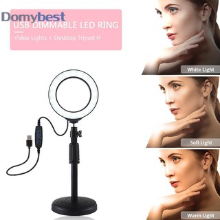 Review Domybest3.2 inch LED Photo Studio Light with Stand Selfie Ring Light Dimmable