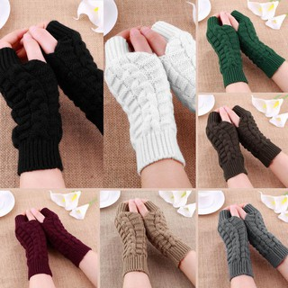 Review Knitted Fingerless Winter ถุงมือ for Men Women