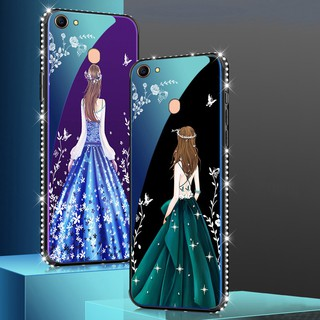 Review OPPO A79 A73 F5 A37 A5 R7S A77 China Skirt Girl Case Diamond Bumper Glass Back