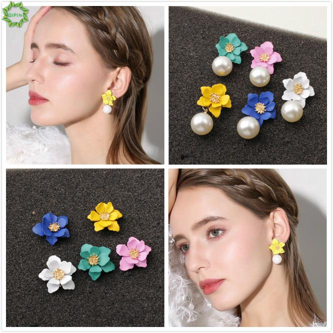 Review Cod Qipin Korea Sweet Beauty Petal Flower White Beads Drop Pendant Earrings Women Ear Studs Jewelry Gifts