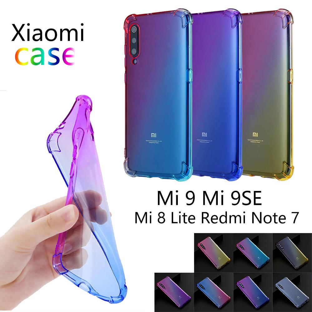 Review Xiaomi Mi 9 9SE 8Lite Redmi note 7 Airbag Anti-fall Soft Gradient Case Cover กรณี เคสซิลิโคน