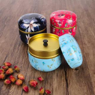 Review Round Metal Tin Tea Box With Lid Coffee Powder Matcha Candy Cookie Container Mini Storage