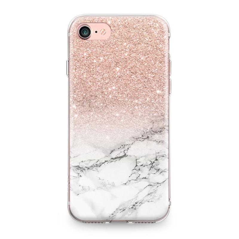 iPhone 4 4S 5 5S SE 5C 6 6S 7 8 Plus X XR XS Max Pink Star Marble Pattern Silicone Case