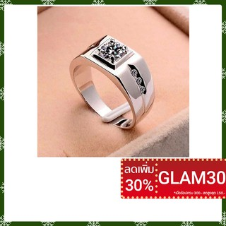 Review Men's Silver Classic Cubic Zircon Wide Ring แหวน แหวน zircon ชายแหวน