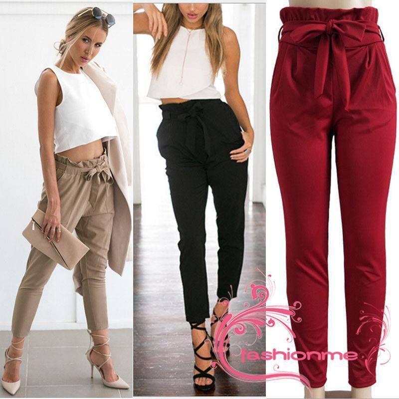 IAN-Womens Fashion Stretch High Waist Jogger Leggings Loose Casual Pants Tro