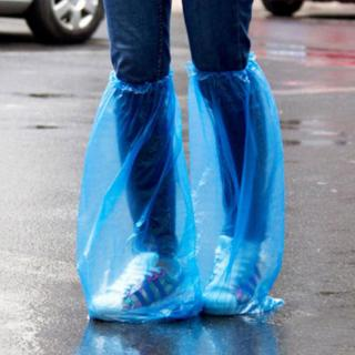 YH ✿✿ 1Pair Durable Waterproof Thick Plastic Disposable Rain Shoe Covers High-Top Boot