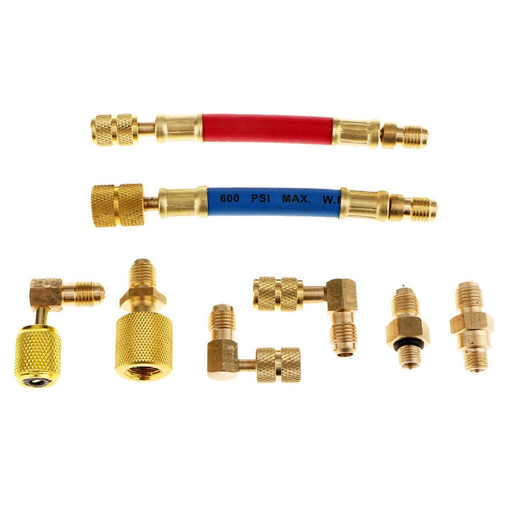 Review Brass Refrigeration Repair Air Conditioning Use Connect For Car R134A Adapter Set