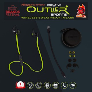 หูฟังบลูทูธ CREATIVE OUTLIER SPORT WIRELESS HEAD PHONE in ear BLUE GREEN ORANGE