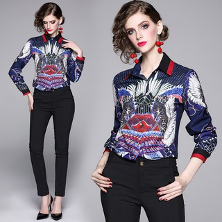 Review New Fashion Printed Polo Collar Long Sleeve Casual Shirts Slim Fit Shirt With Button Korean Women