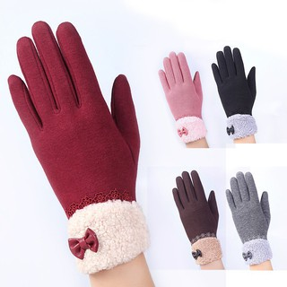 Autumn Winter Women Bow Lace Warm Elegant Mittens  ถุงมือ