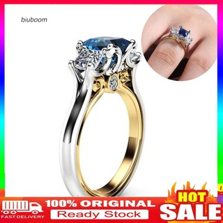 Review 【B.Ring】_Women Square Faux Sapphire Inlaid Finger Ring Wedding Proposal Jewelry Gift