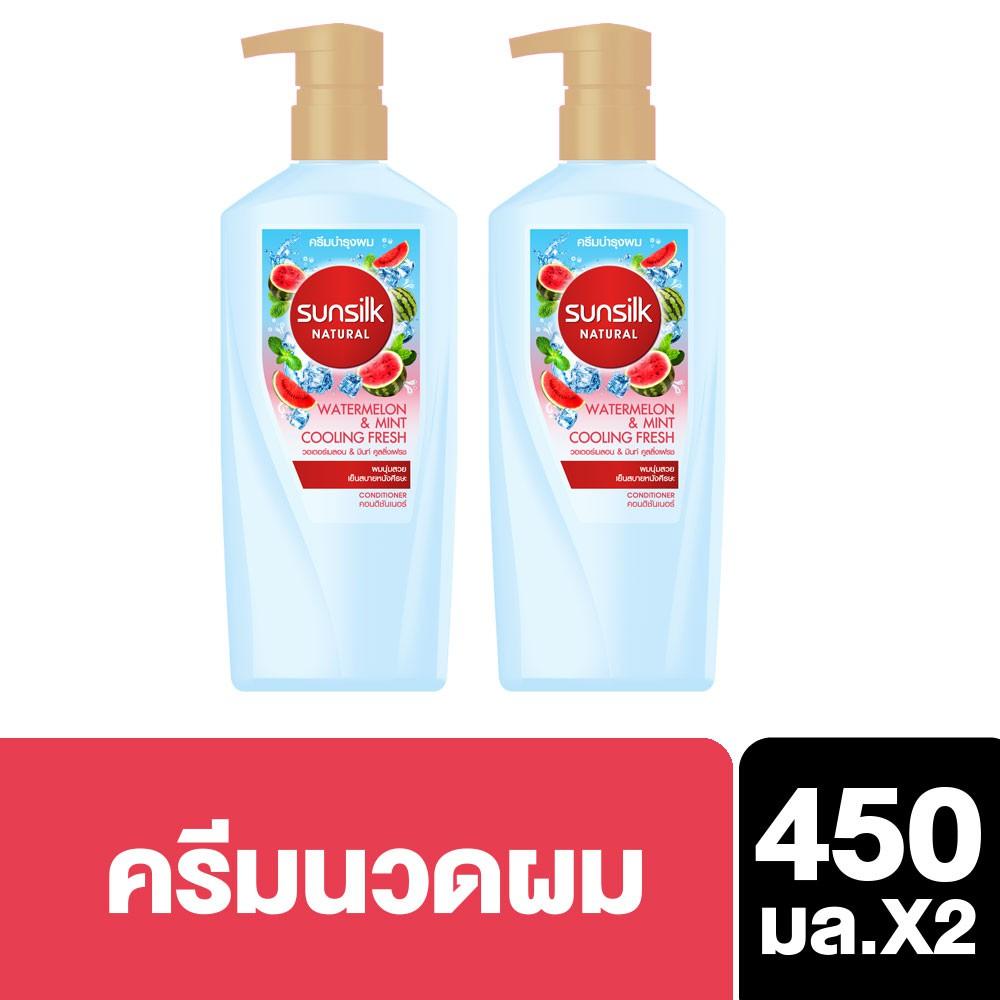 Sunsilk Natural Watermelon & Mint Cooling Fresh Micellar Conditioner 450 ml (x2) UNILEVER