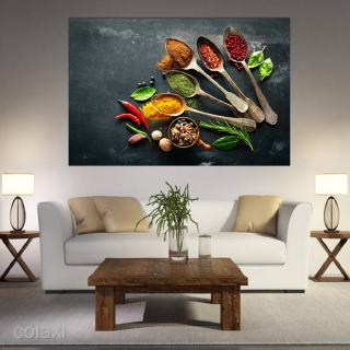 Kitchen Pictures Wall Decor, Spice and Spoon Vintage Canvas Wall Art, Ready to Hang Retro Canvas Prints-