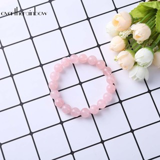 Review ♪Bracelet♪Pink Rose Powder Crystal Quartz Natural Stone Streche Bracelet Elastic Cord
