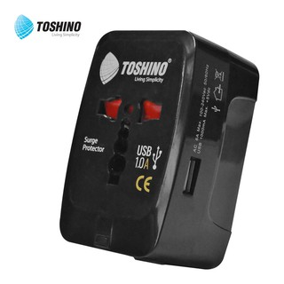Toshino  ปลั๊กไฟ ปลั๊กแปลงขาทั่วโลก 4 IN 1 Universal Travel Adaptor with Surge Protection, 1 USB CHARGER รุ่น D