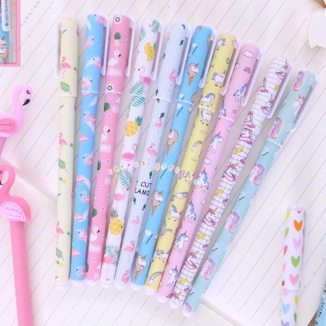ปากกาเจล10แท่ง Unicorn&Flamingo