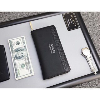 Review พร้อมส่ง Wallet light luxury casual 2019 new men's bag fashion solid color leather long large capacity wallet