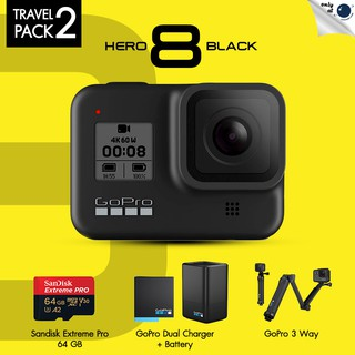 Gopro Hero 8 Black Travel Pack 2 Dual Charer + Battery, Gopro 3 Way, Sandisk Extreme Pro 64GB ประกันศูนย์ไทย 1 ปี